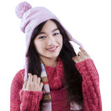 Pretty girl with knitted sweater Stock Photos