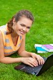 Pretty girl with laptop Stock Image