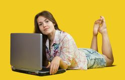 Pretty  girl  with laptop Stock Images