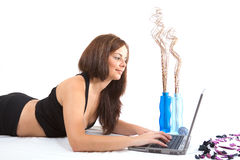 Pretty girl with laptop Royalty Free Stock Image