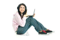 Pretty girl with a laptop Royalty Free Stock Image