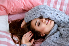 Pretty girl laying in the bed Royalty Free Stock Photography