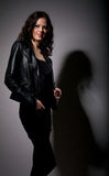 Pretty girl in leather jacket Royalty Free Stock Photography