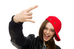 The pretty girl in leather jacket isolated on white Royalty Free Stock Photos