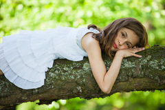 Pretty girl lies on a tree Royalty Free Stock Images