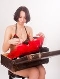Pretty girl in lingerie with  suitcase Stock Photos