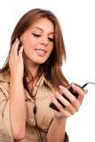 Pretty girl listening music Royalty Free Stock Photography