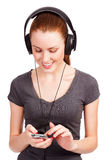 Pretty girl listening music Royalty Free Stock Photos