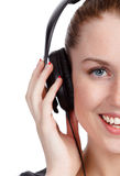 Pretty girl listening music Stock Images