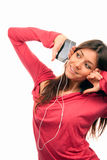 Pretty Girl Listening Music in headphones Royalty Free Stock Images