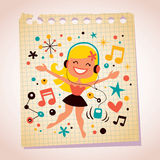 Pretty girl listening music note paper cartoon illustration. Pretty girl listening music illustration Royalty Free Stock Photography