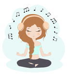 Pretty girl listening music Royalty Free Stock Images