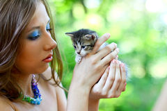 Pretty girl with little kitten Royalty Free Stock Image