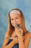 Pretty girl with little kitten Royalty Free Stock Photography