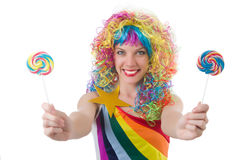 Pretty girl with lollypops Stock Image