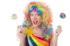 Pretty girl with lollypops Royalty Free Stock Photos