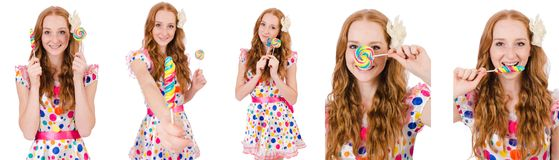 The pretty girl with lollypops isolated on white Royalty Free Stock Photo