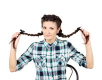 Pretty girl with long braids. Stock Photo