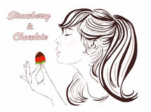 Pretty girl with long hair eating strawberry and chocolate. Beautiful young woman enjoying a strawberry and chocolate. Stock Images