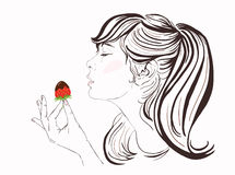 Pretty girl with long hair eating strawberry and chocolate. Beautiful young woman enjoying a strawberry and chocolate. Stock Photography