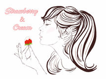 Pretty girl with long hair eating strawberry and cream. Illustration of a beautiful young woman enjoying a strawberry and cream. Stock Images
