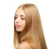 Pretty girl with long hair on white Stock Images