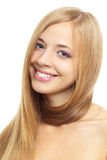 Pretty girl with long hair on white Royalty Free Stock Photography