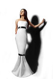 Pretty girl in long white dress Royalty Free Stock Photo