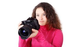 Pretty girl looking at the camera footage Stock Photos