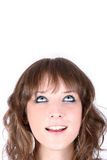 Pretty girl looking up. Space for text Royalty Free Stock Photo