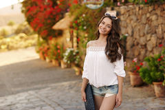 Pretty girl looking at you and smiling Royalty Free Stock Photo