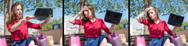 Pretty girl lost something from her purse / set Royalty Free Stock Image