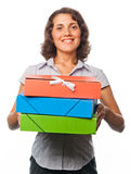 Pretty girl with a lot of paper folders Stock Photos