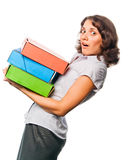 Pretty girl with a lot of paper folders Royalty Free Stock Photography