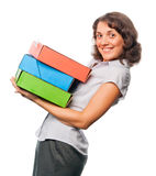 Pretty girl with a lot of paper folders Royalty Free Stock Photos