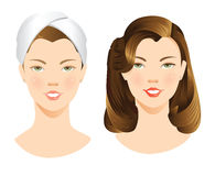 Pretty girl with makeup and without makeup. Vector Illustration of a pretty girl with makeup and without makeup isolated on white background. Girl with a towel Royalty Free Stock Image