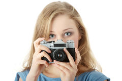 Pretty girl making photo Stock Image