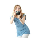 Pretty girl making photo Stock Image