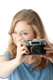 Pretty girl making photo Stock Photo