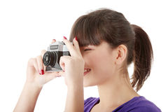 Pretty girl making photo Royalty Free Stock Images