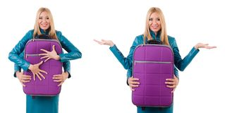 The pretty girl and man holding suitcases isolated on white Stock Photo