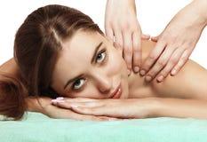 Pretty girl on massage back Stock Photo