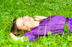 Pretty girl on meadow Royalty Free Stock Photos