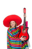 Pretty girl in mexican poncho with guitar isolated Stock Image