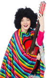 Pretty girl in mexican poncho with guitar isolated Stock Photos