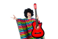 Pretty girl in mexican poncho with guitar isolated Royalty Free Stock Photography