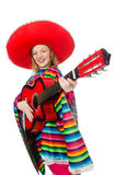 Pretty girl in mexican poncho with guitar isolated Royalty Free Stock Photo