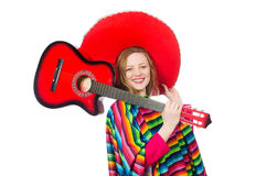 Pretty girl in mexican poncho with guitar isolated Stock Images