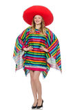 Pretty girl in mexican poncho isolated on white Stock Photo