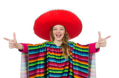 Pretty girl in mexican poncho isolated on white Stock Photography